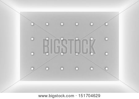 Abstract white wall with small round embedded lamps and hidden lights and empty space abstract architecture background 3d illustration