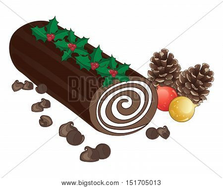 an illustration of a festive chocolate cake with cream swirl in the shape of a log decorated with holly sprigs pine cones baubles and chocolate chips