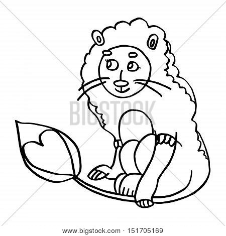 Child in carnival costume of lion. Hand drawn illustration with cute boy in animal clothes. Design for St.Valentine cards, coloring book pages, birthday and wedding invitations.