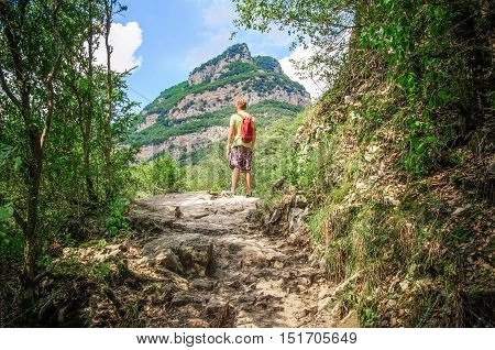 Happy hiker winning reaching life goal freedom and happiness. Winner / Success concept. Young boy admiring nature at the top