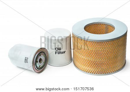 filter elements of the internal combustion engine - fuel grease air isolated on white background