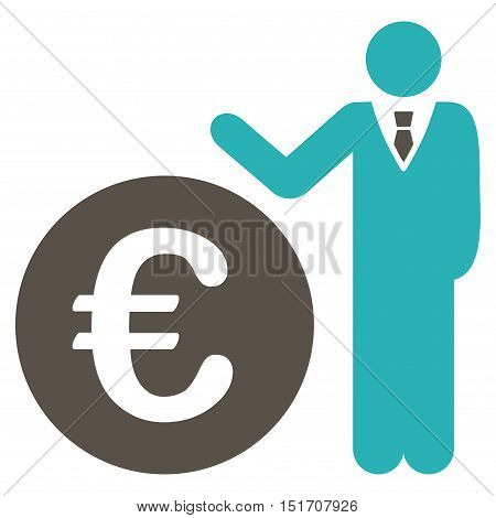 Euro Economist icon. Vector style is bicolor flat iconic symbol, grey and cyan colors, white background.