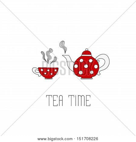 Polka dots tea pot and cup with tea on white background. Tea time text message.
