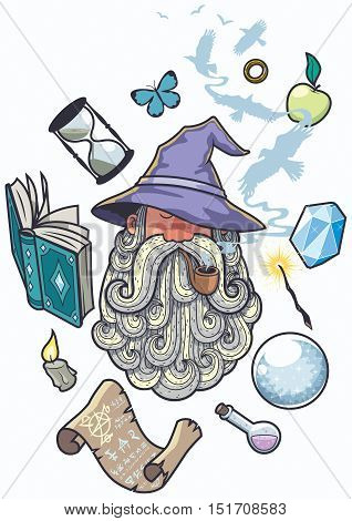 Portrait of wizard smoking pipe. Different objects float around him.