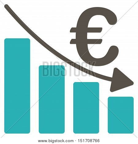 Euro Recession Bar Chart icon. Vector style is bicolor flat iconic symbol, grey and cyan colors, white background.