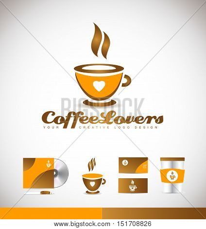 Coffee love heart hot vector logo icon sign design template corporate identity