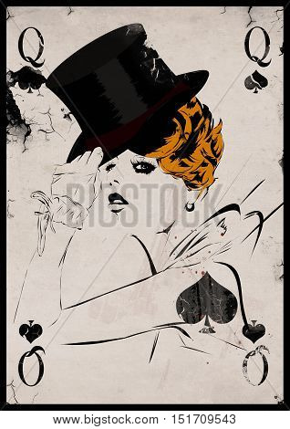 The girl in retro style. Playing card. Poker. Casino