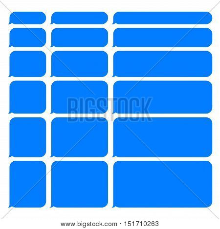 Blue Smartphone SMS Chat Blank Bubbles Set. Vector Illustration