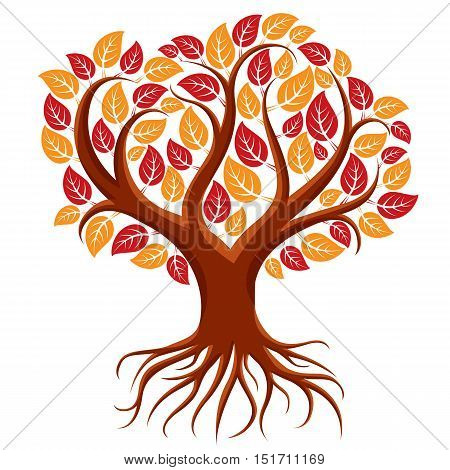 Vector art illustration of branchy tree with strong roots. Tree of life symbolic image ecology conservation theme.
