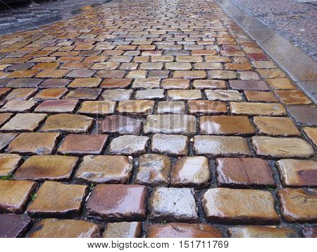 Traditional Old Cobbles In The Rain