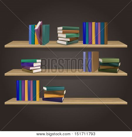 bookshelves many editions , vector illustration .