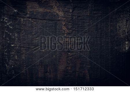 Black Dark Wood Background, Wooden Board Rough Grain Surface Texture