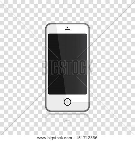 Mobile phone on transparent background. Vector illustration.