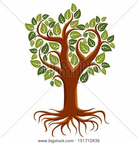 Vector art illustration of branchy tree with strong roots. Tree of life symbolic image ecology conservation theme. poster