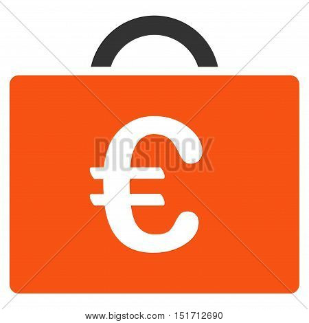 Euro Bookkeeping Case icon. Vector style is bicolor flat iconic symbol, orange and gray colors, white background.