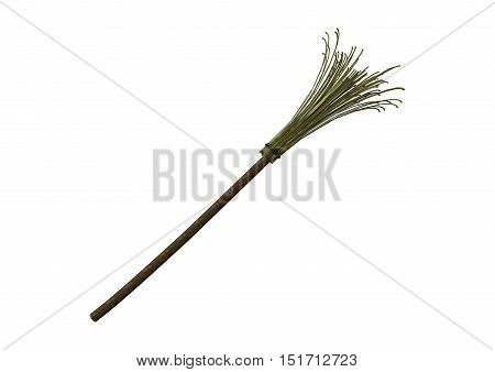 3D rendering of a broomstick isolated on white background