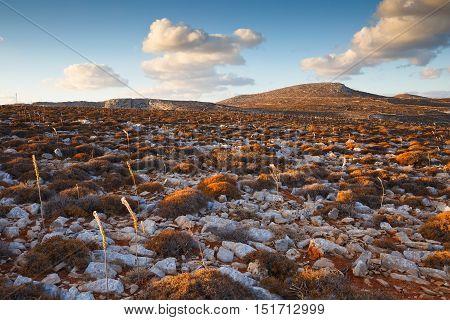 Arid barren natural landscape on Folegandros islands.