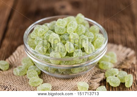 Apple Flavoured Gummy Candy (close-up Shot)