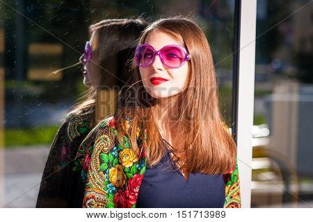 Woman In Pink Sunglasses.
