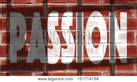 Passion Written On A Wall With Jail Bars Shadow