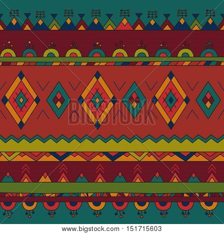Bright colored ethnic South America abstract stripe vector seamless pattern. Mexican, peru or aztec motifs