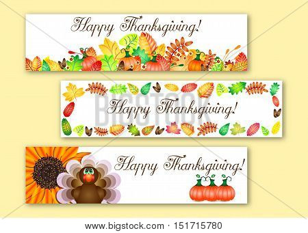 Cute banners with colorful autumn leaves pumpkins and turkey for greetings with happy Thanksgiving. Vector illustration