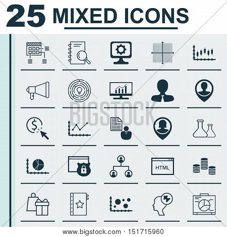 Set Of 25 Universal Icons On Money, Pin Employee, Stock Market And More Topics. Vector Icon Set Incl