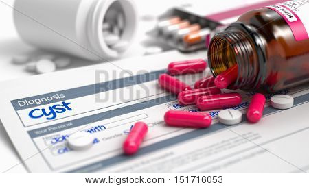 Cyst Phrase in Anamnesis. Close View of Medical Concept. Cyst - Handwritten Diagnosis in the Anamnesis. Medicine Concept with Blister of Red Pills, Close View, Selective Focus. 3D Render.