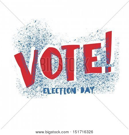 Vote! typography. Election day logo. Isolated on white. Red and Blue colors