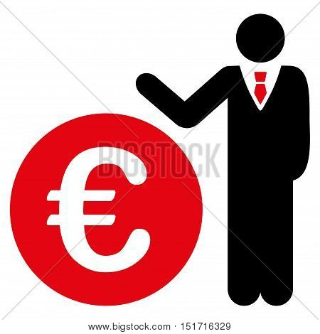 Euro Economist icon. Vector style is bicolor flat iconic symbol, intensive red and black colors, white background.
