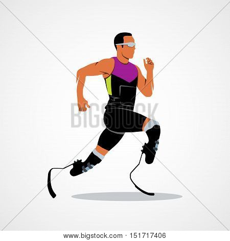 Abstract disabled athlete running on a white background. Vector illustration.