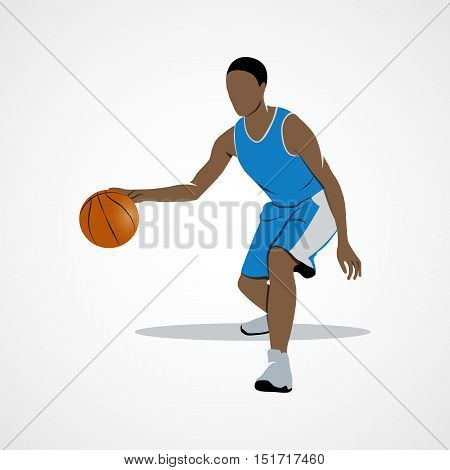 Abstract basketball player dribbling with ball on a white background. Photo illustration.