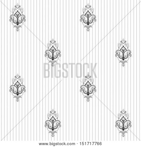 Seamless vector background. Vintage restrained damask pattern. Easily edit the colors.