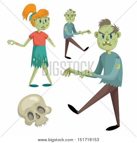 Cartoon halloween simple gradient vector icon set with zombies. Two zombie mens zombie girls without hand and skull.