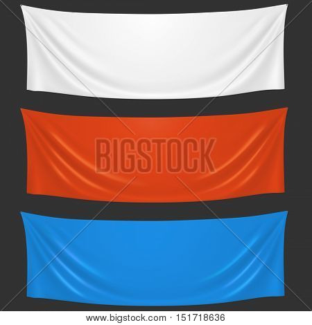 Blank white, red and blue cloth welcome banners vector template. Horizontal advertising fabric banners isolated on black background.