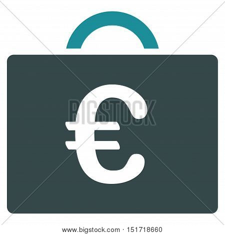 Euro Bookkeeping Case icon. Vector style is bicolor flat iconic symbol, soft blue colors, white background.