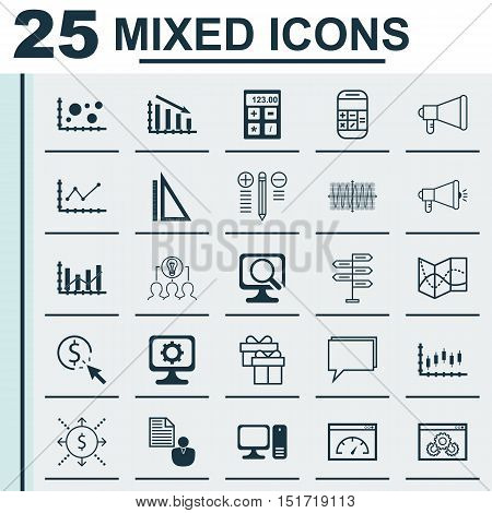 Set Of 25 Universal Icons On Stock Market, Desktop Computer, Ppc And More Topics. Vector Icon Set In