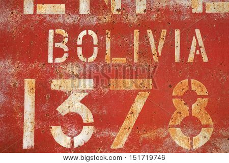 Old Rusty Painted Metal Wall With Inscriptions