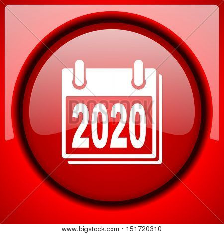 new year 2020 red icon plastic glossy button