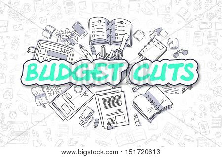 Budget Cuts - Hand Drawn Business Illustration with Business Doodles. Green Inscription - Budget Cuts - Doodle Business Concept.