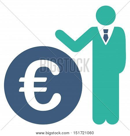 Euro Economist icon. Vector style is bicolor flat iconic symbol, cobalt and cyan colors, white background.