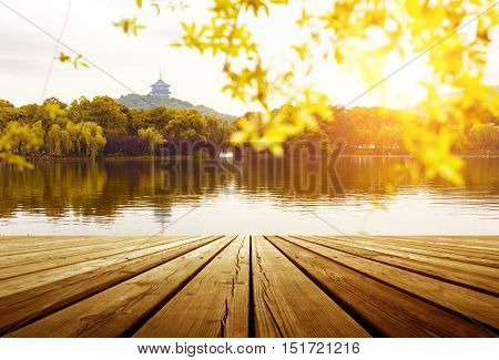 beautiful hangzhou west lake sceneryleifeng pagoda in afterglow