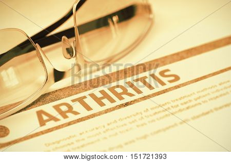 Arthritis - Medicine Concept on Red Background with Blurred Text and Composition of Spectacles. 3D Rendering.