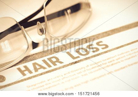 Hair Loss - Printed Diagnosis with Blurred Text on Red Background with Glasses. Medical Concept. 3D Rendering.