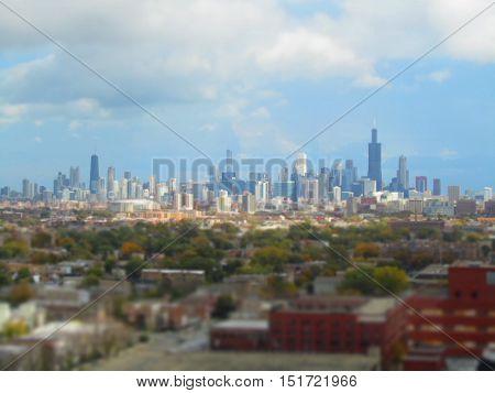 Tilt shift style aerial photo of Chicago