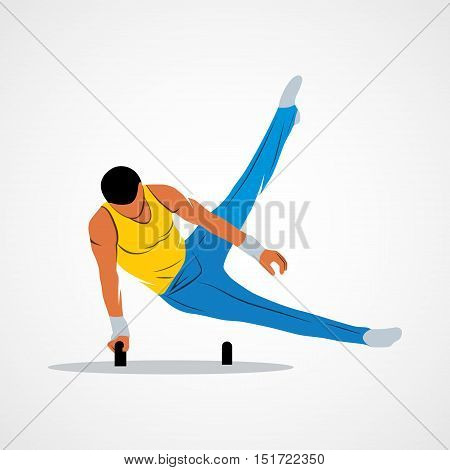 Abstract gymnast on projectile gymnastics on horseback on a white background. Photo illustration.