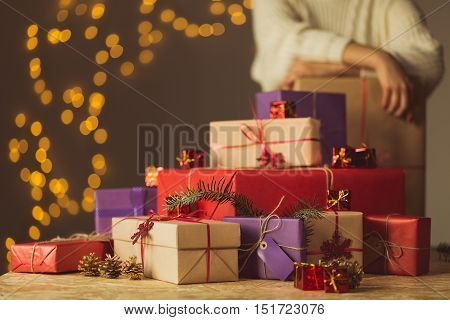 Woman Packed All Christmas Presents
