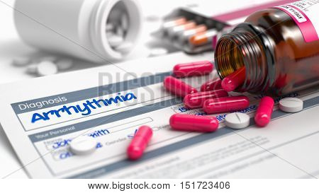 Arrhythmia Text in Anamnesis. Close Up View of Medical Concept. Arrhythmia - Handwritten Diagnosis in the Anamnesis. Medical Concept with Heap of Pills, CloseUp View, Selective Focus. 3D.