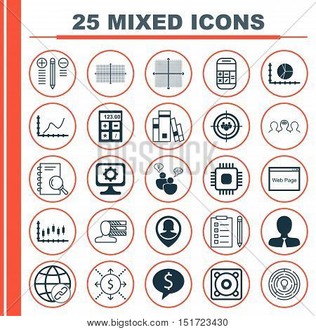 Set Of 25 Universal Icons On Stock Market, Money, Square Diagram And More Topics. Vector Icon Set In