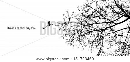 Lonely bird stands on a branch of a naked tree silhouette in black and white vector format with a caption
